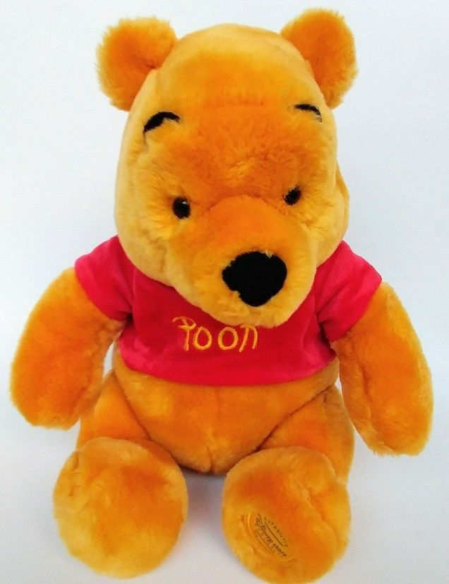 Winnie The Pooh Plush Disney Yellow Bear Stuffed Animal Doll Toy Red Shirt  12