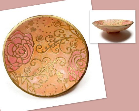 Peach Roses Wedding Ring Holder- polymer clay Bowl- Jewelry Holder- Engagement Ring Dish- Handmade Ring Dish
