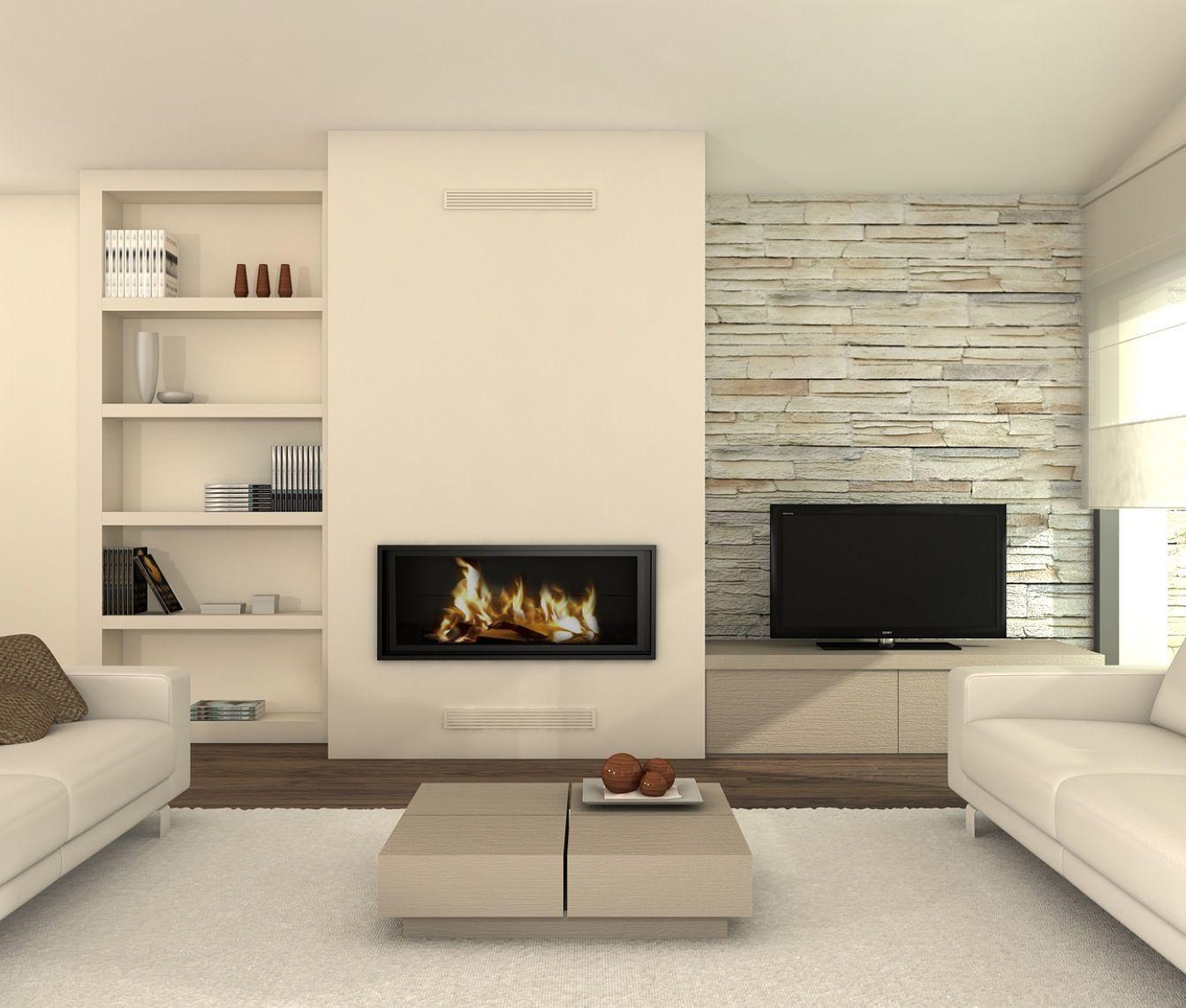 idea para chimenea contemporánea fireplace decoration