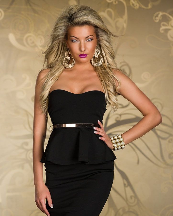1ff7696df99 Robe Femme Peplum Noir bustier mi-longue avec ceinture dore par  UnCadeauUnSourire.com
