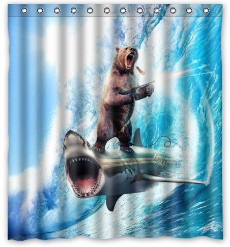 Bear With Riding Shark Never Stop Dreaming Novelty Shower Https