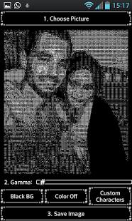 Ascii Photo - Picture Maker  Interesante aplicación para hacer ARTE ASCII, con un standart de caracteres del teclado.