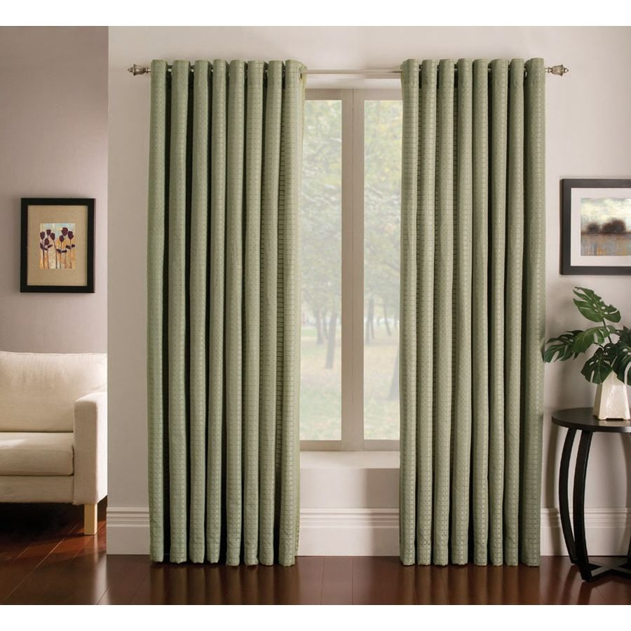 Shop Allen Roth Sullivan 95 In L Solid Green Grommet Window