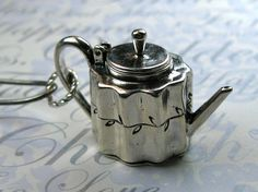 Sterling Silver English Teapot Charm Pendant