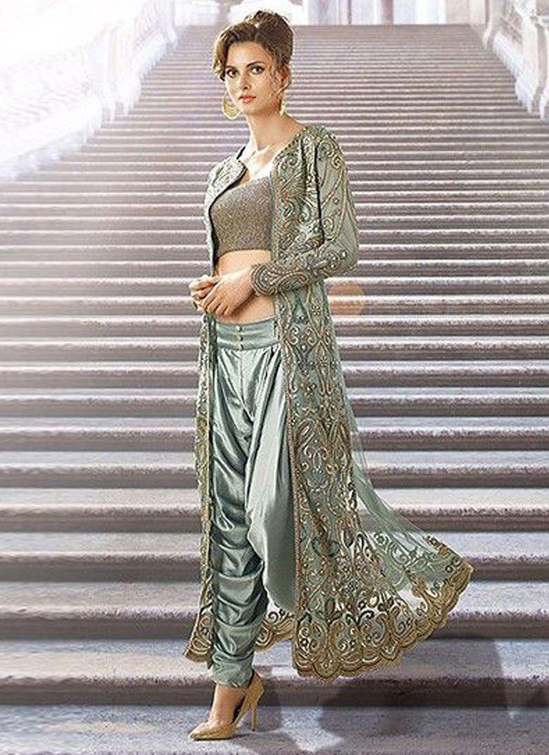 66bc4861c906 Buy Grey Net Fabric Dhoti Style Designer Suit Online