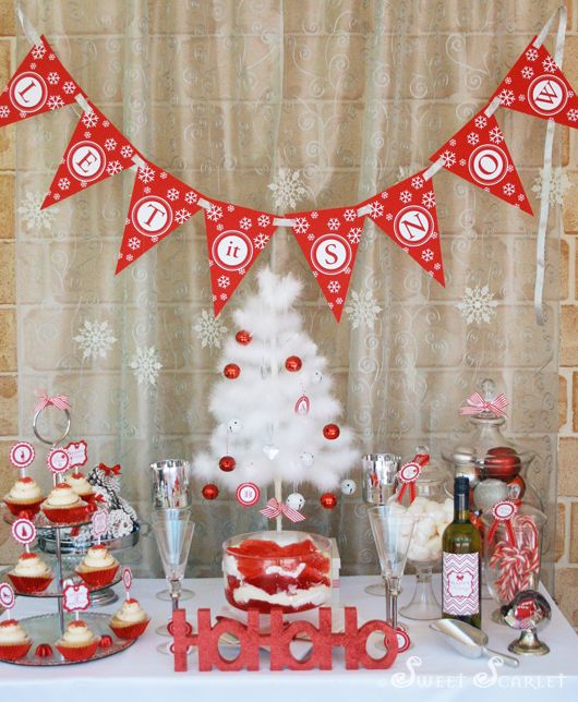 Let It Snow Christmas Party Kara S Party Ideas The Place For All Things Party P White Christmas Party Christmas Party Table Christmas Party Decorations