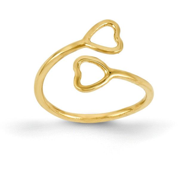 14k Yellow Gold Double Heart Toe Ring $47 ❤ liked on Polyvore