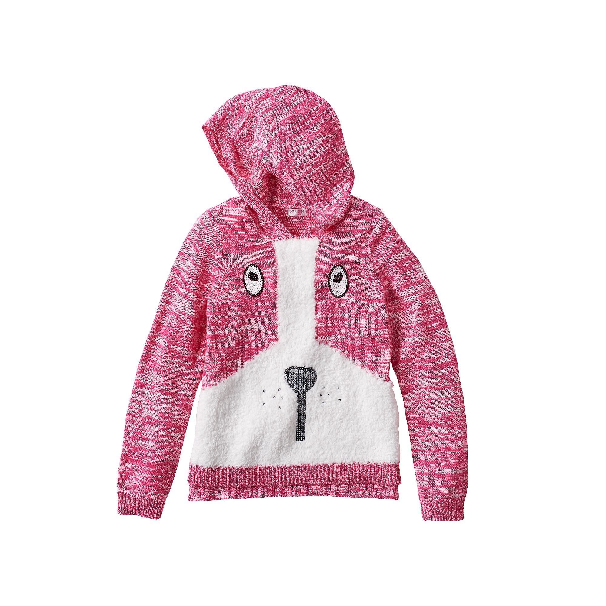 Design 365 Puppy Marled Sweater Hoodie - Girls 4-6x, Size: 6, Pink ...