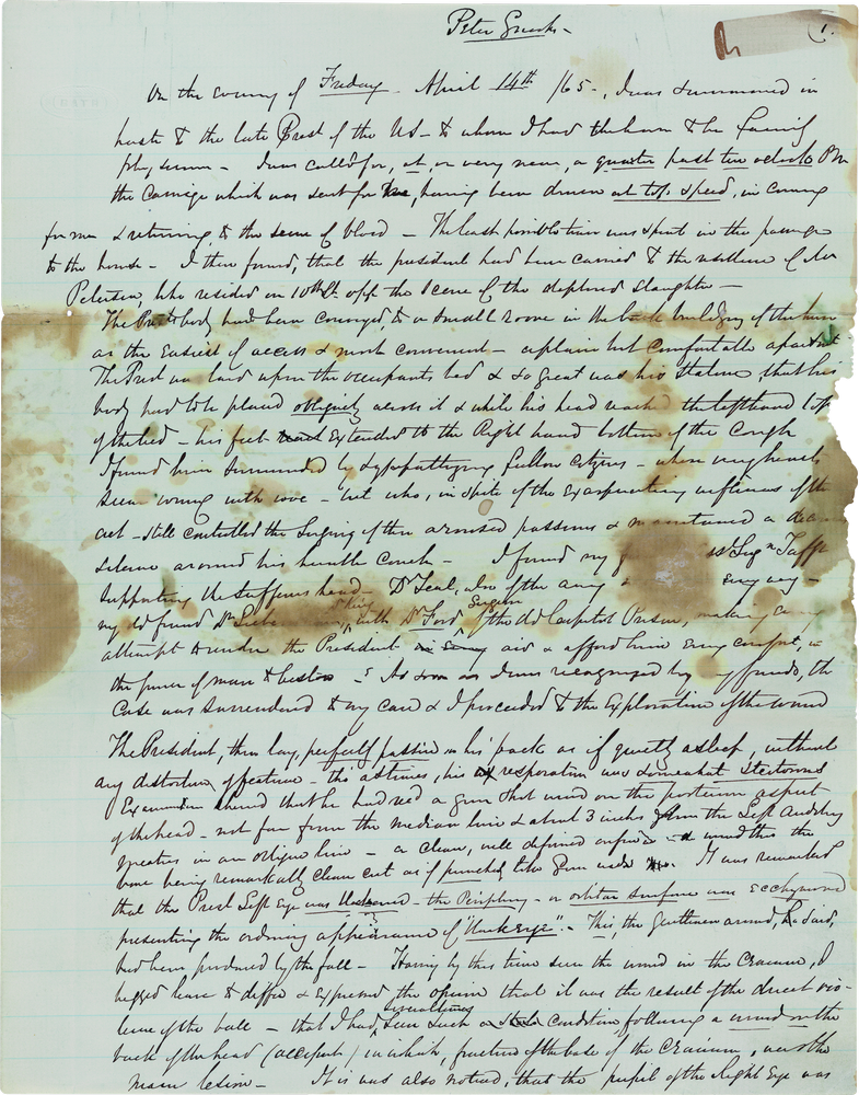 Abraham Lincoln S Autopsy Report Shapell Manuscript Foundation