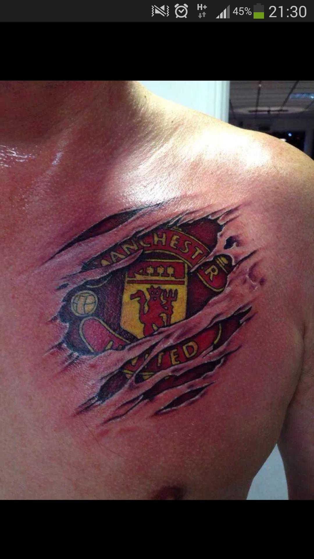 Man Utd Tattoo Manutd Man Utd Tattoo 3d Tattoos For Men Chest Tattoo Men