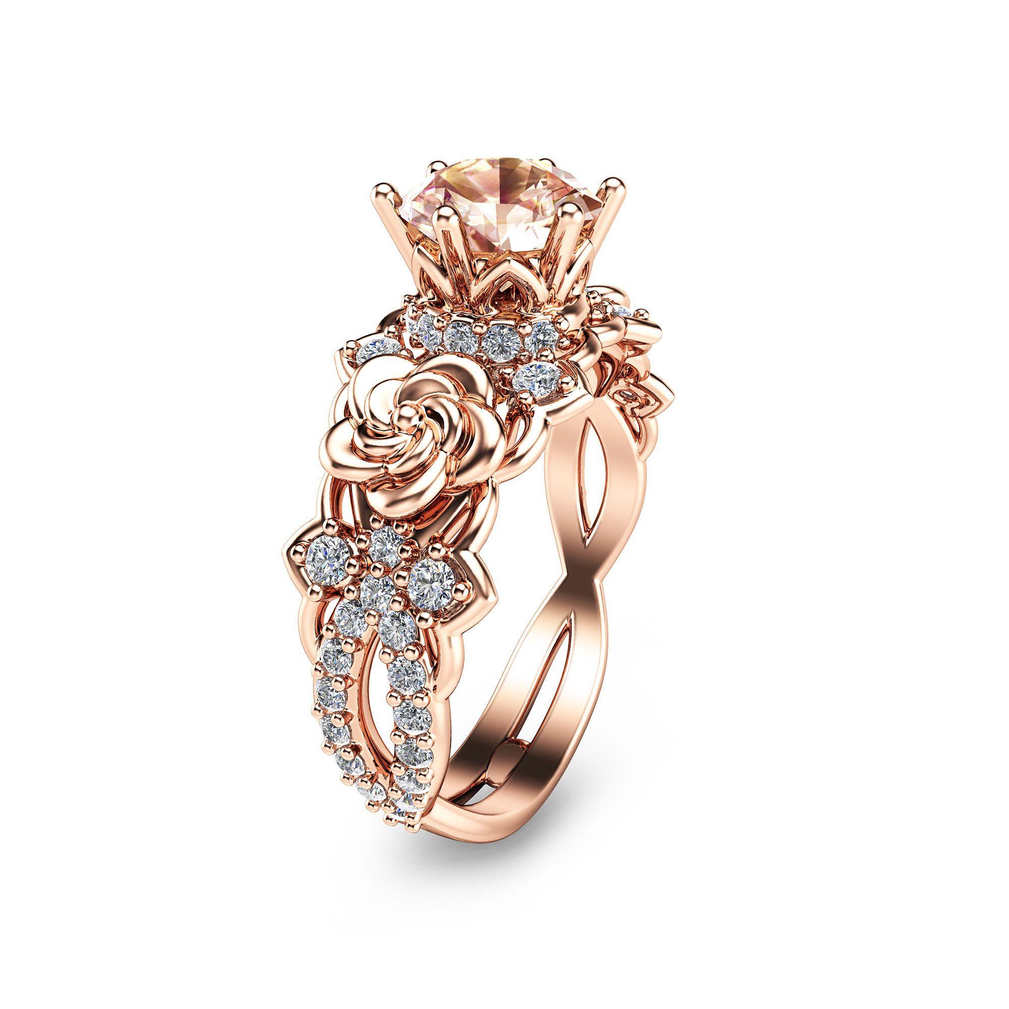 14k rose gold engagement ring unique