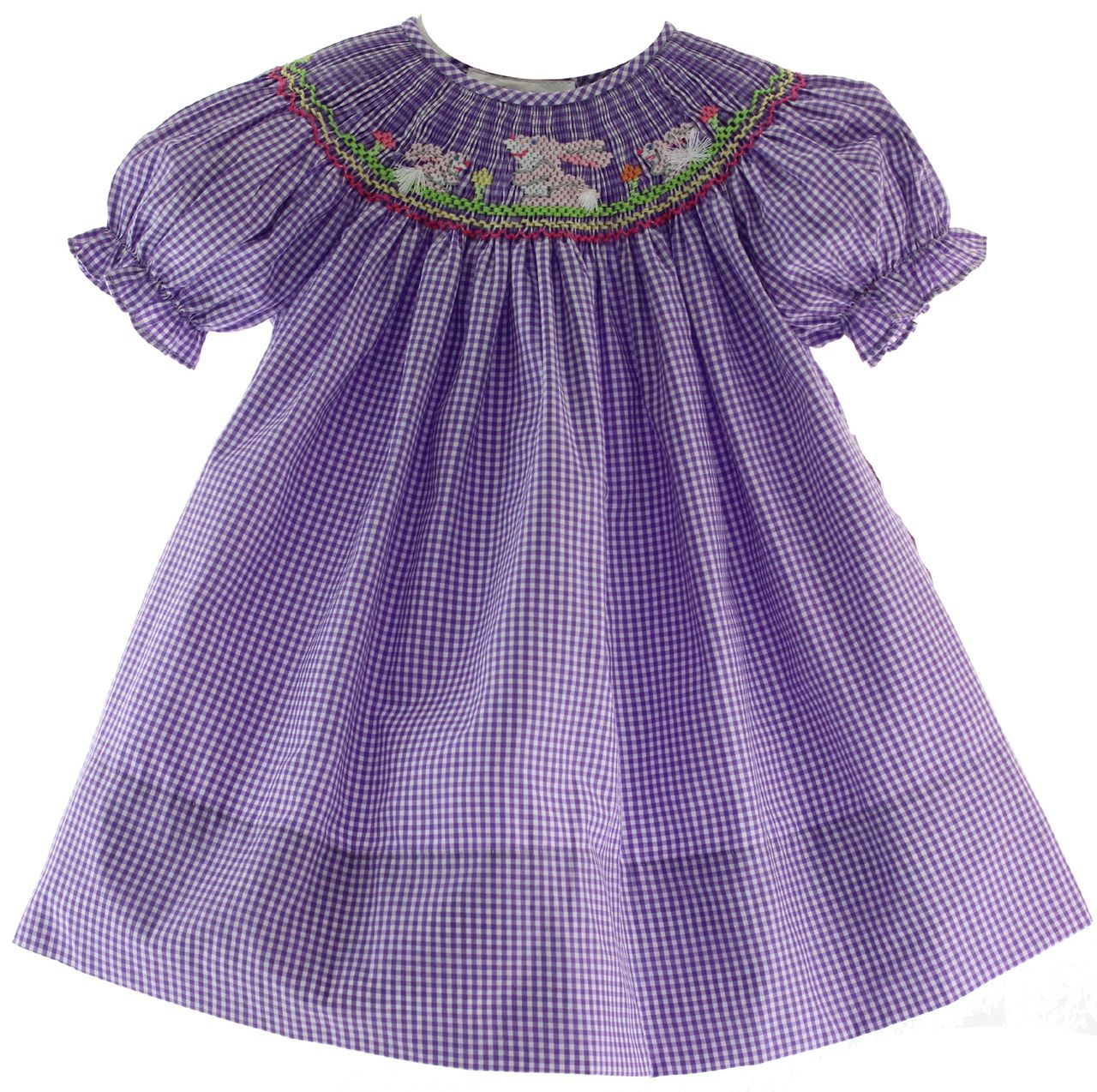 e28c7c6bf Hiccups Childrens Boutique - Girls Purple Smocked Easter Bunny Bishop Dress,  $42.00 (http: