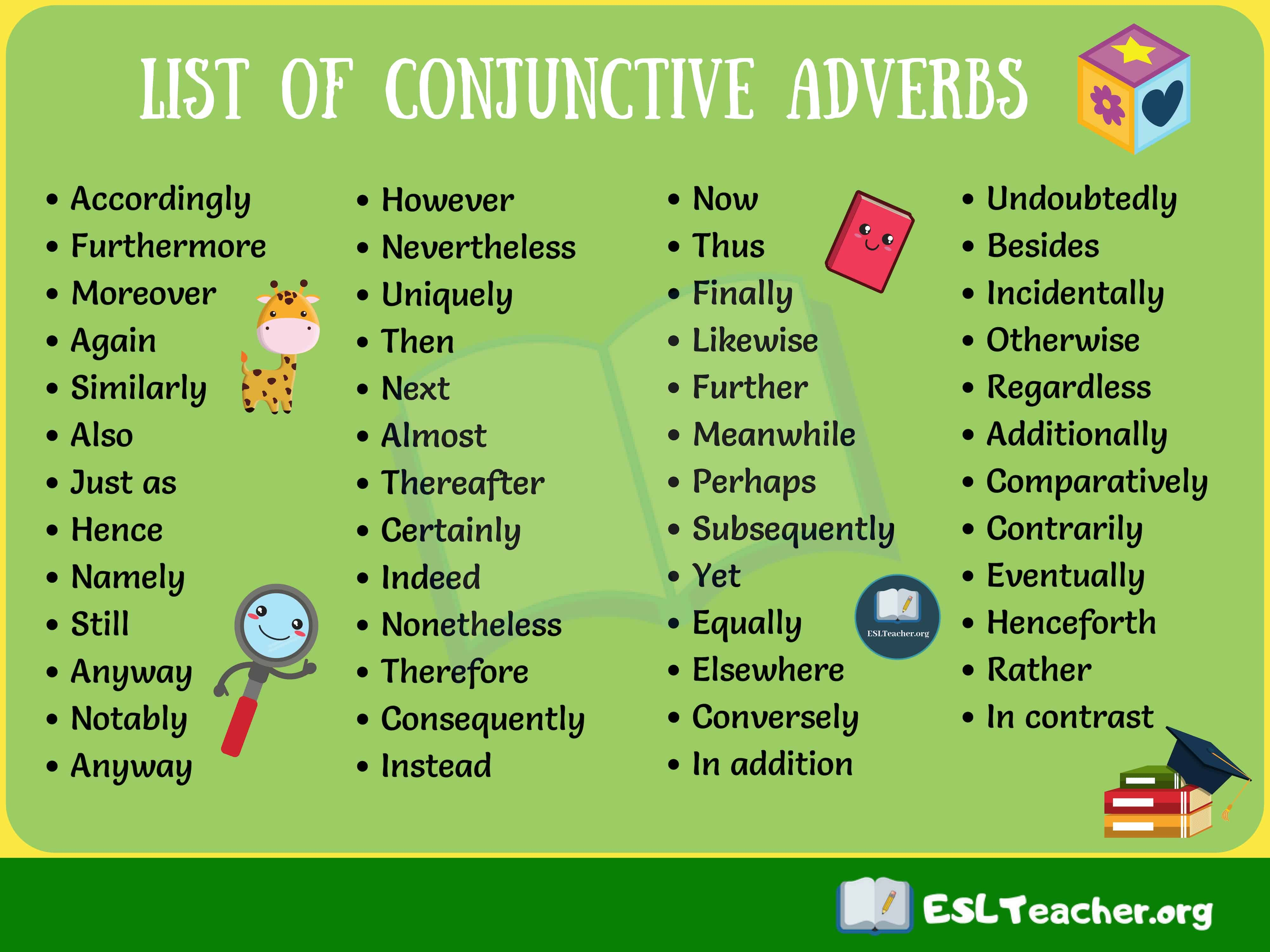 small resolution of List of Conjunctive Adverbs   Conjunctive adverb