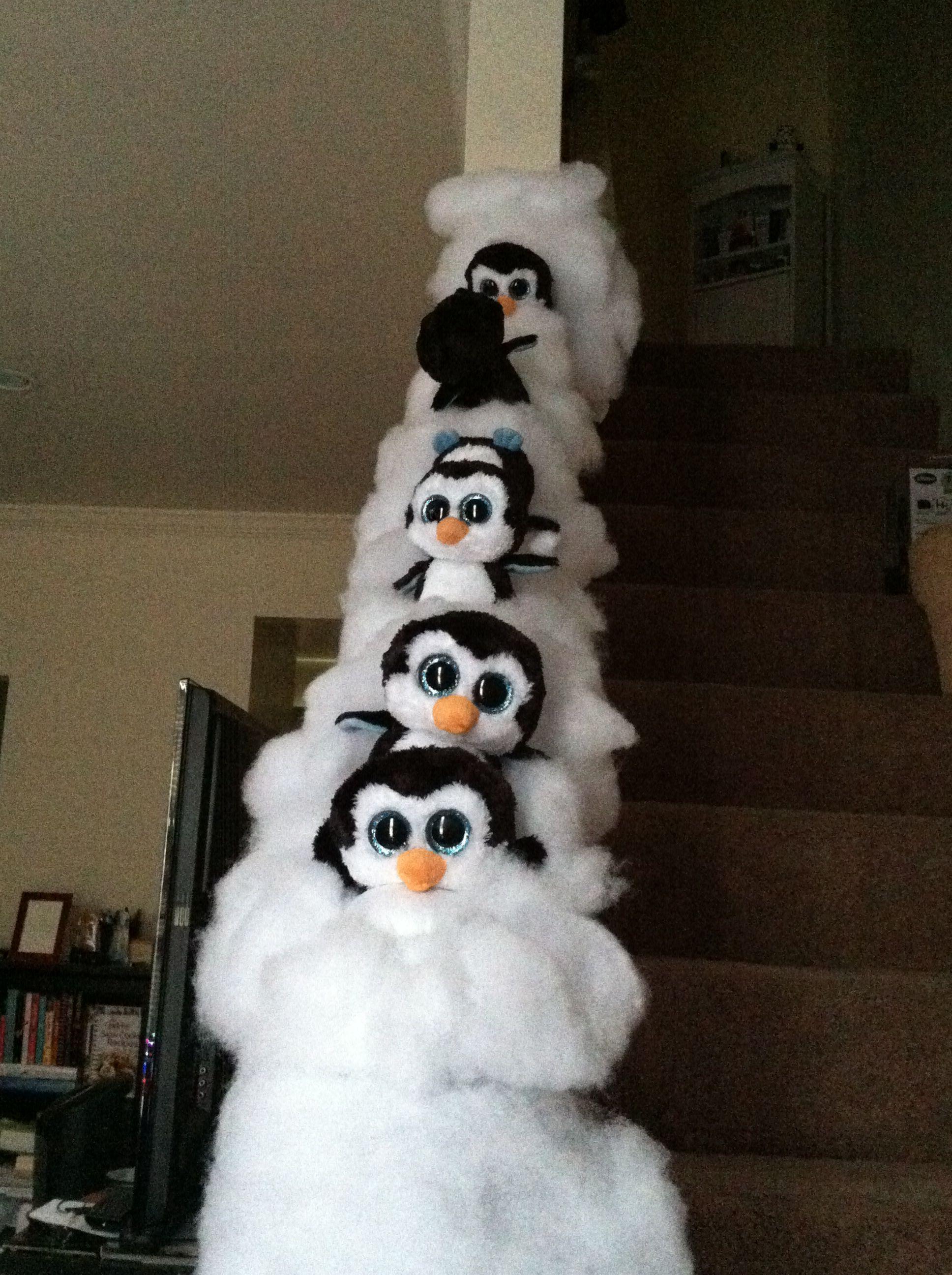 Winter Themed Banister Penguins Sliding Down Railing