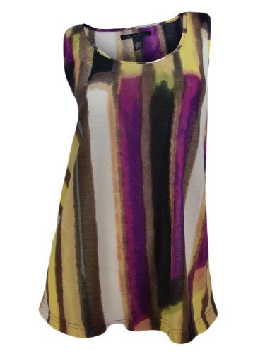 Kenneth Cole Women's Electric Stripe Tank Top Cami Shirt Pink Brown SW212113 $19.95