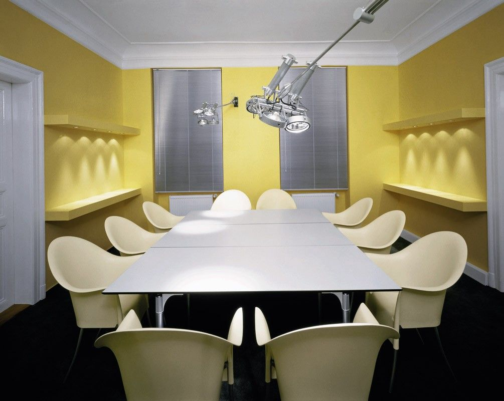White Yellow Conference Room Interior Design theme conference