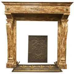 Antique Fireplace Made of Rosso Levanto's Marble