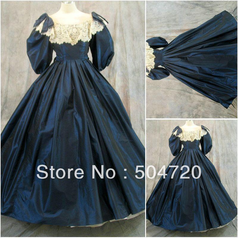 3a3b059e1e Freeshipping!1800S Blue Civil War Southern Belle Ball Gown evening ...