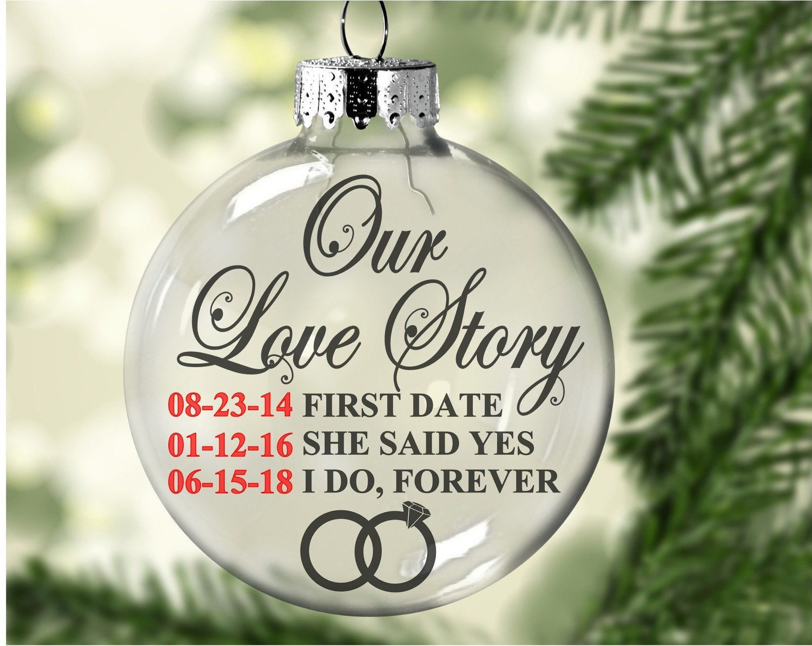 Floating Our Love Story Personalized Ornament Etsy Personalized Ornaments Christmas Ornaments Homemade Clear Christmas Ornaments