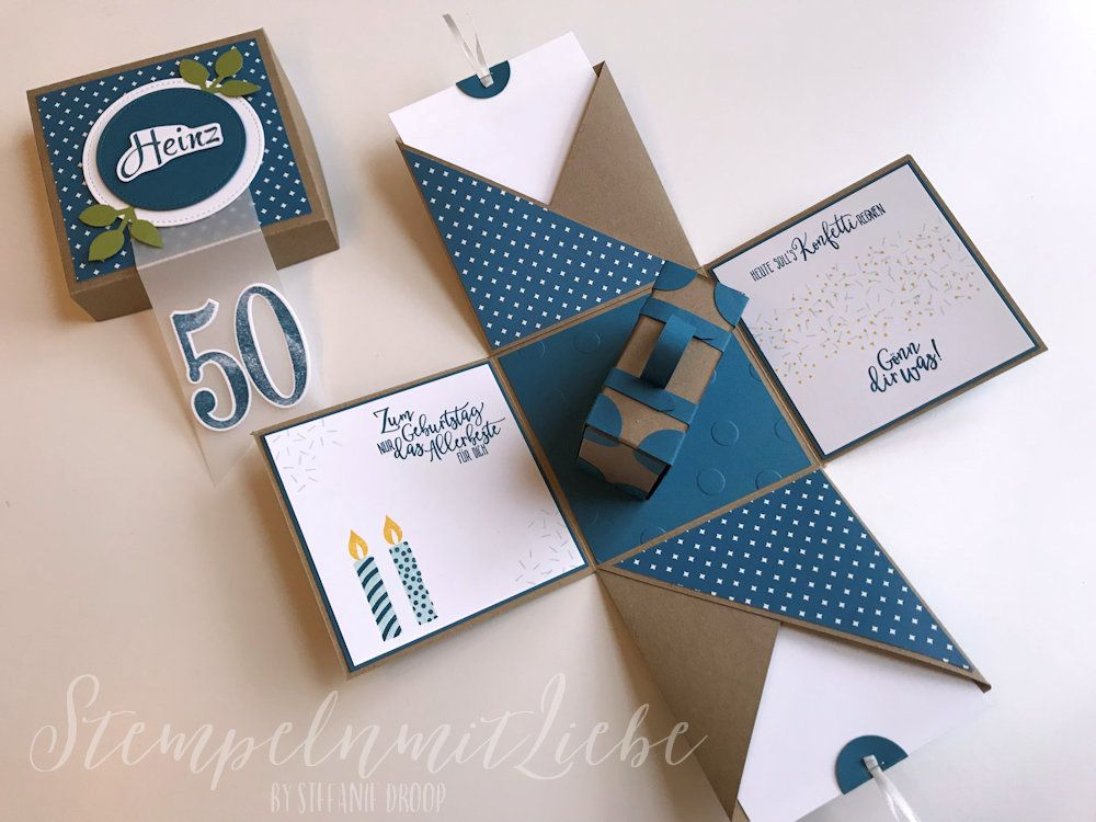 Explosion box for 50th birthday with suitcase | Stamp with love  – Explosionsbox – Stampin Up – Stempeln mit Liebe –