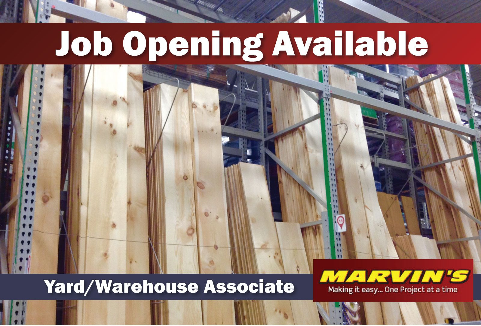 Job Opening Available Yard  Warehouse Associate Employer