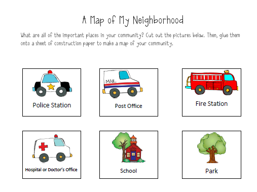 map of my neighbourhood slp ideas community helpers kindergarten community helpers. Black Bedroom Furniture Sets. Home Design Ideas