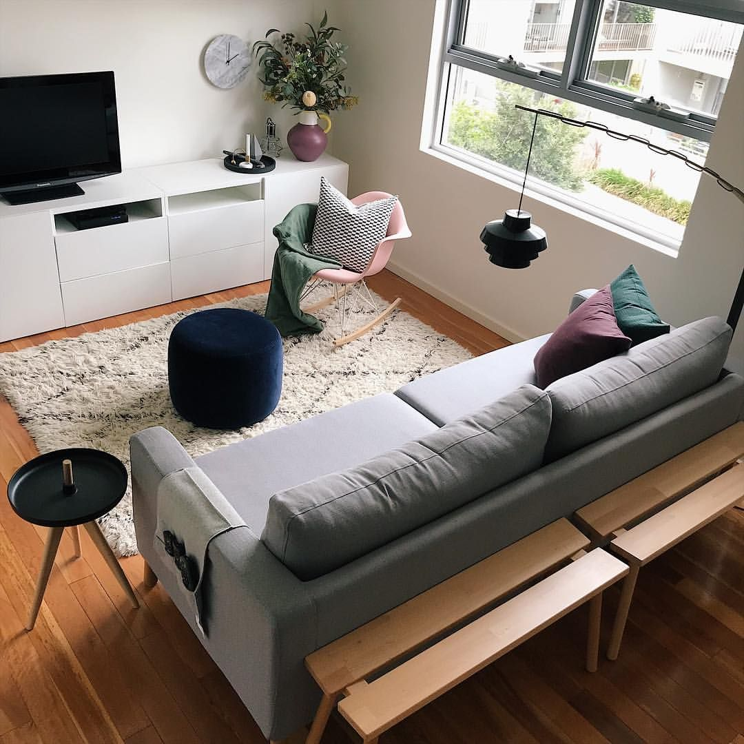 small living room with various ikea items ikea 'stockholm
