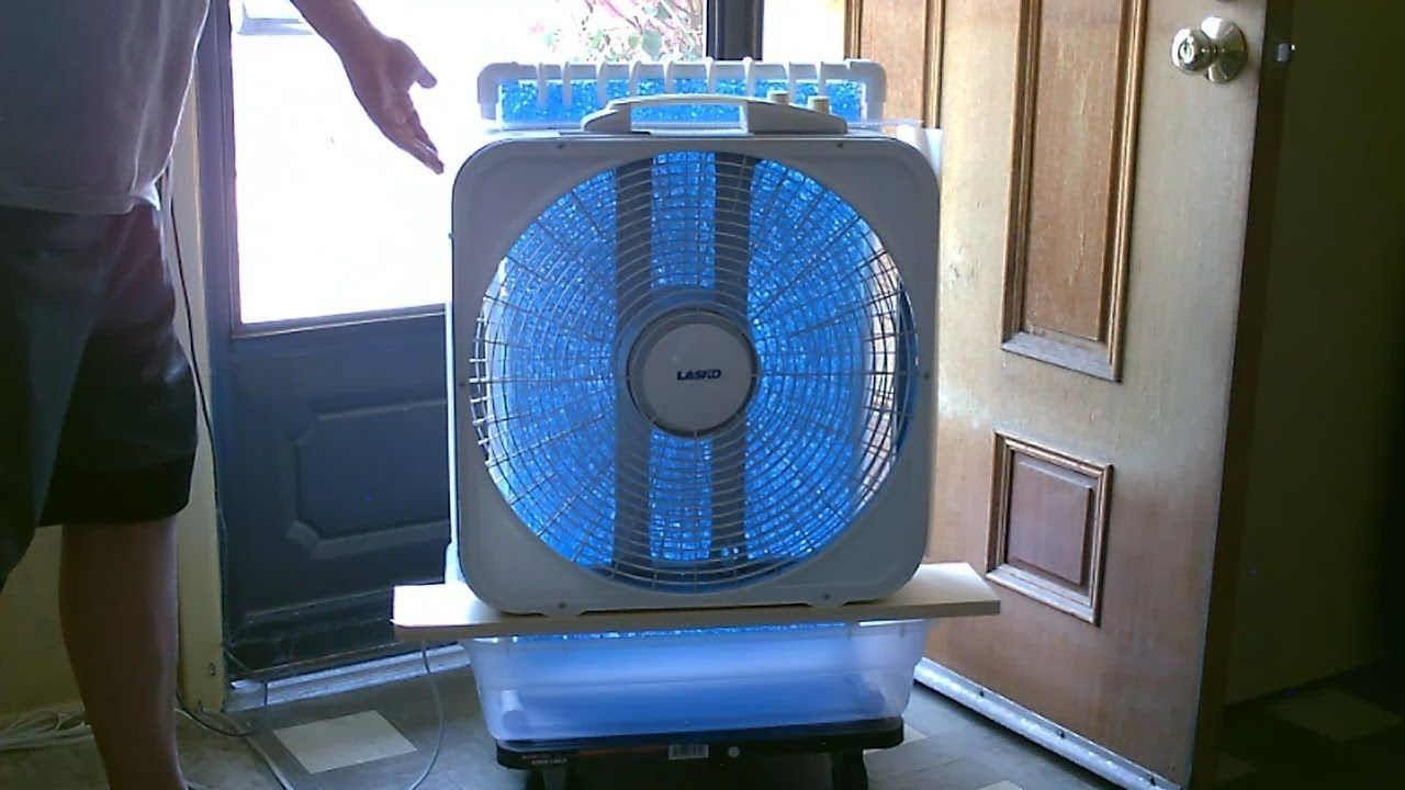 Large Area Evap Air Cooler Diy Ac Air Cooler Simple Box Fan Conversion Works Great Youtube Diy Air Conditioner Air Cooler Diy Cooler