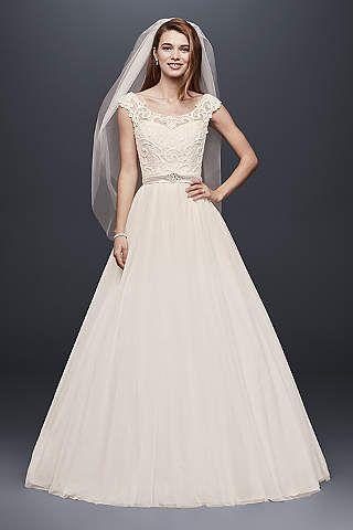 Vestido de Novia de Tul con Escote en Ilusión de Encaje | boda ...