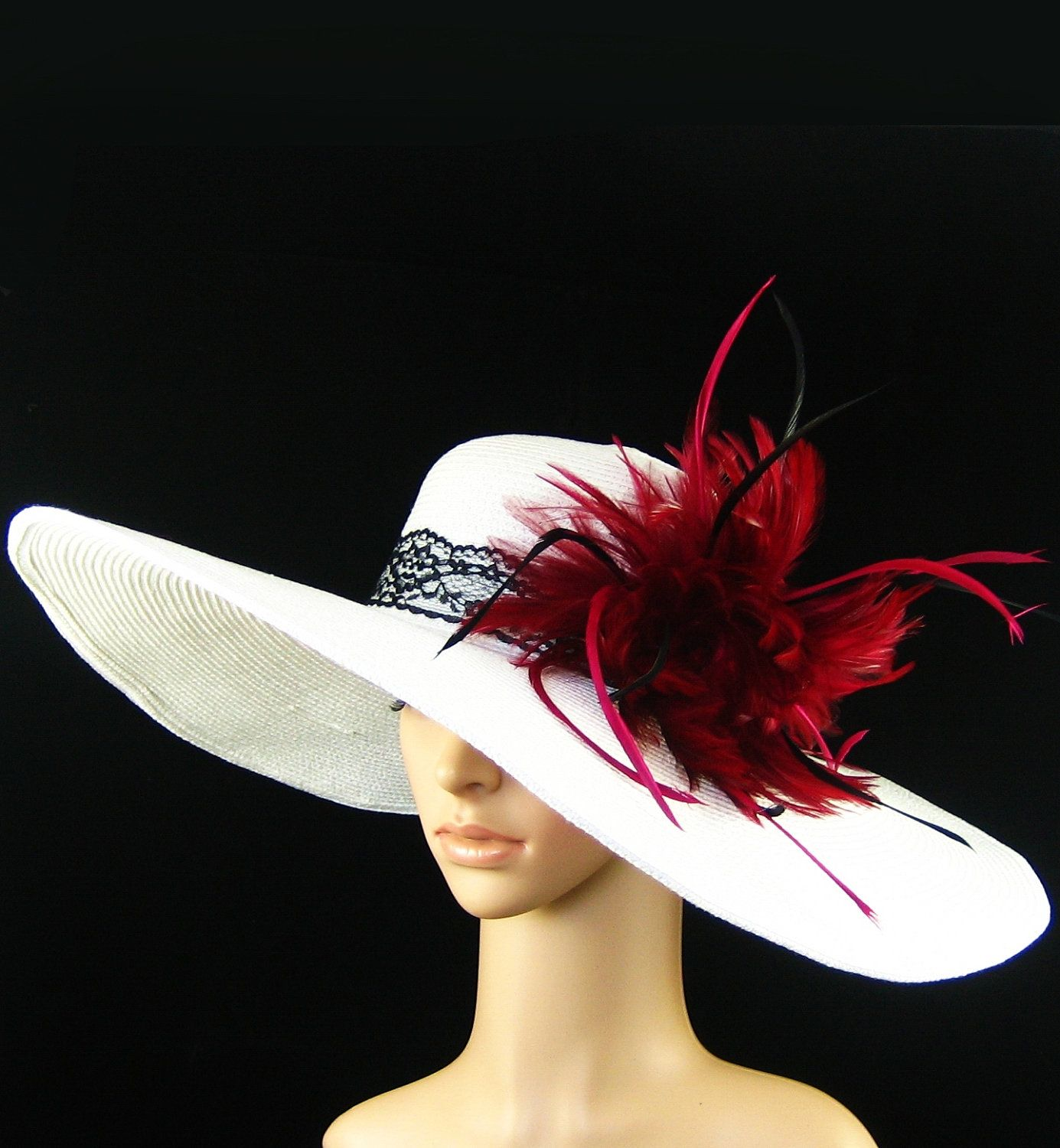 Derby Hat Kentucky Derby Hat Wedding Hat Tea Party Hat Wide Brim White Hat  Feathers Woman Dress Bridal Church Ascot Horse Race.  59.97 f64a9989e7ab