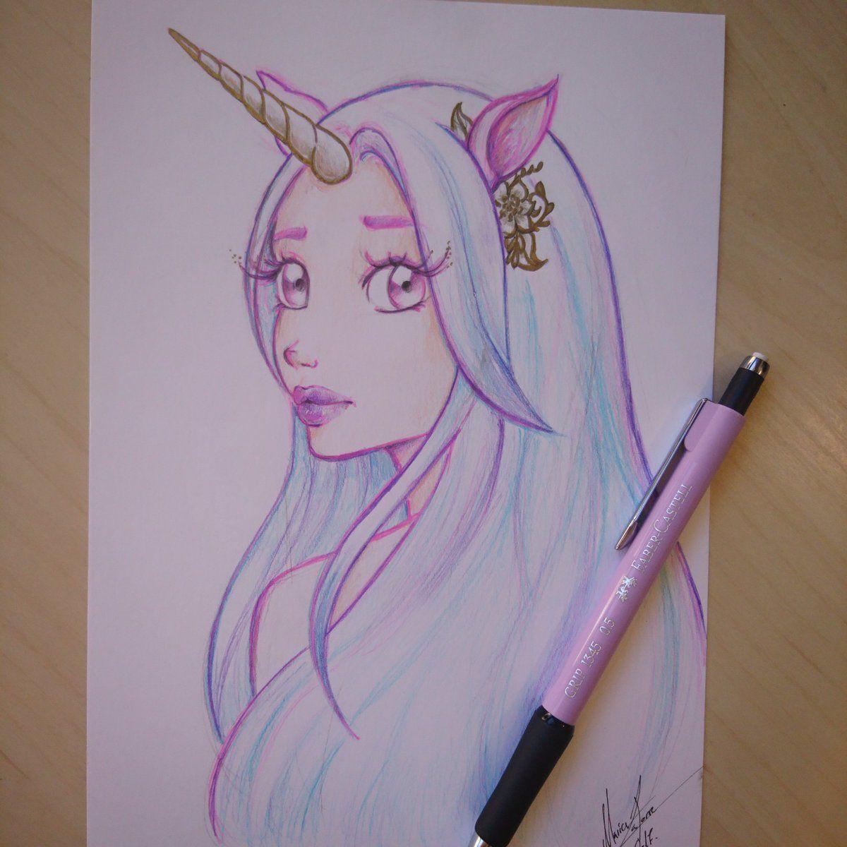 Cute Anime Unicorn Girl Unicorn Art Drawing Unicorn Drawing Unicorn Art