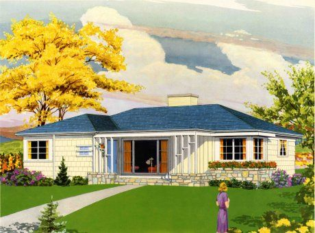 We study vintage home illustrations from the 40s, 50s and 60s -- listing  the architectural and lands… | Ranch house exterior, Ranch house remodel,  Ranch style homes