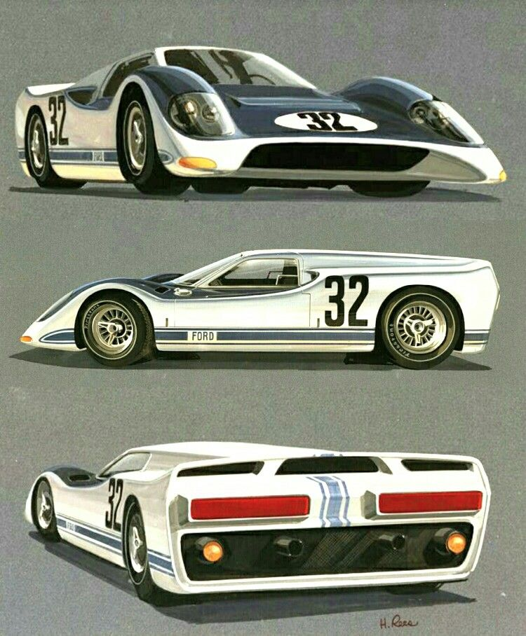 1966 Ford J Car Rendering Racing Car Model Concept Cars