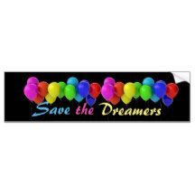 Save the Dreamers Rainbow Balloons Bumper Sticker