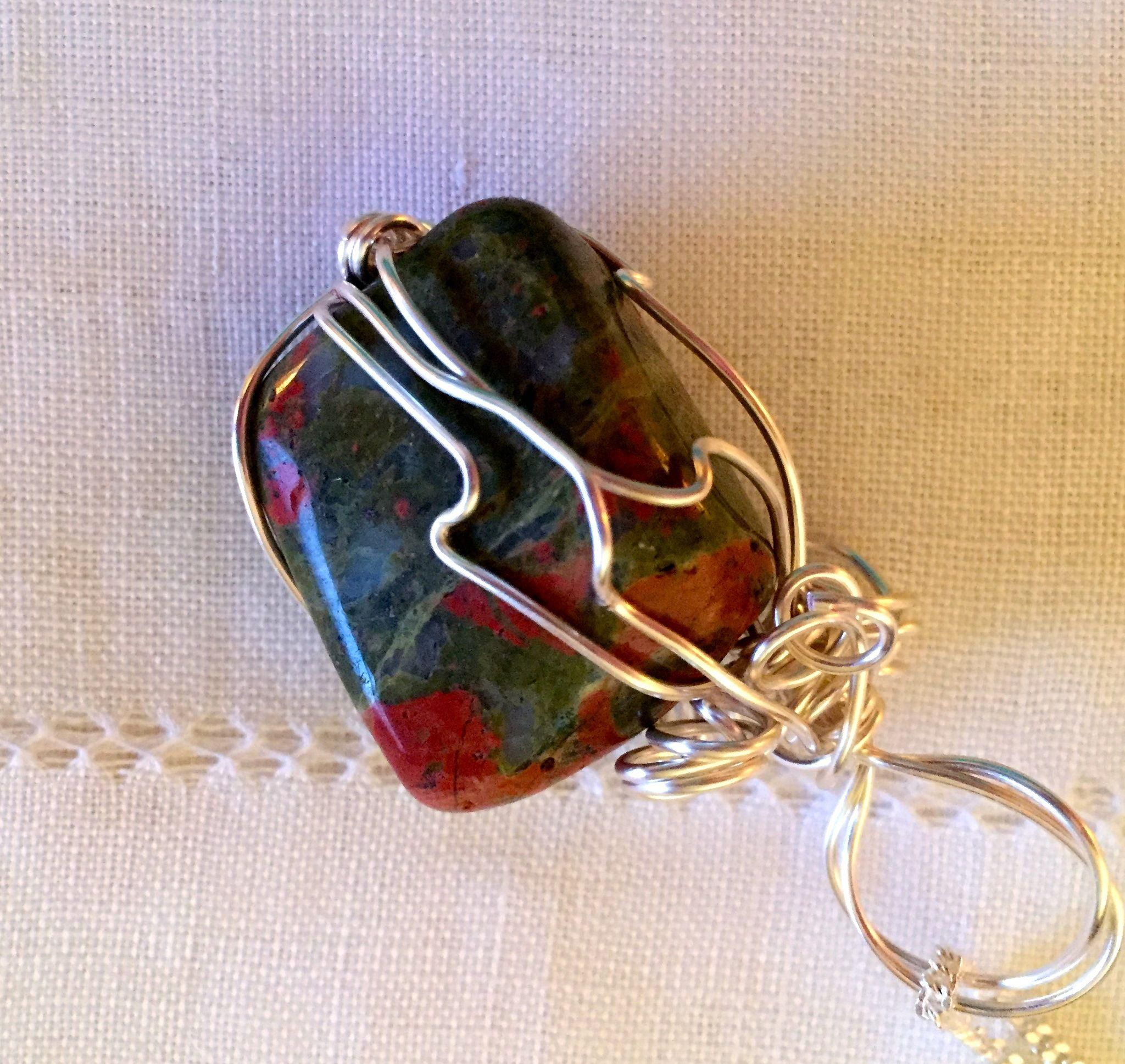 Artisan Necklace: Unakite  stone: wrapped in silver wire: on silver 19&#34…