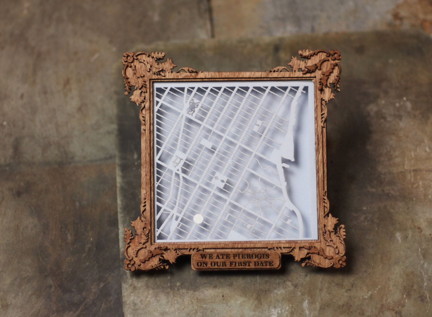 Custom laser cut map with personalized shadowbox frame
