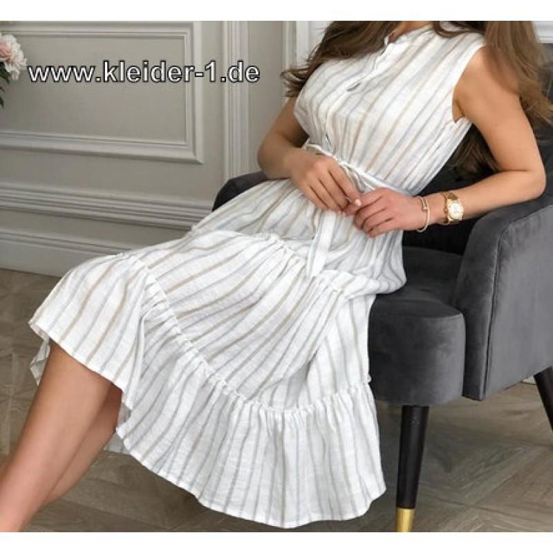 A Linie Midi Sommerkleid 2020 Gestreift Kleid Kleider Sommer Sommerkleid Midikleid In 2020 Mit Bildern Sommerkleid Kleider Sommer Kleider