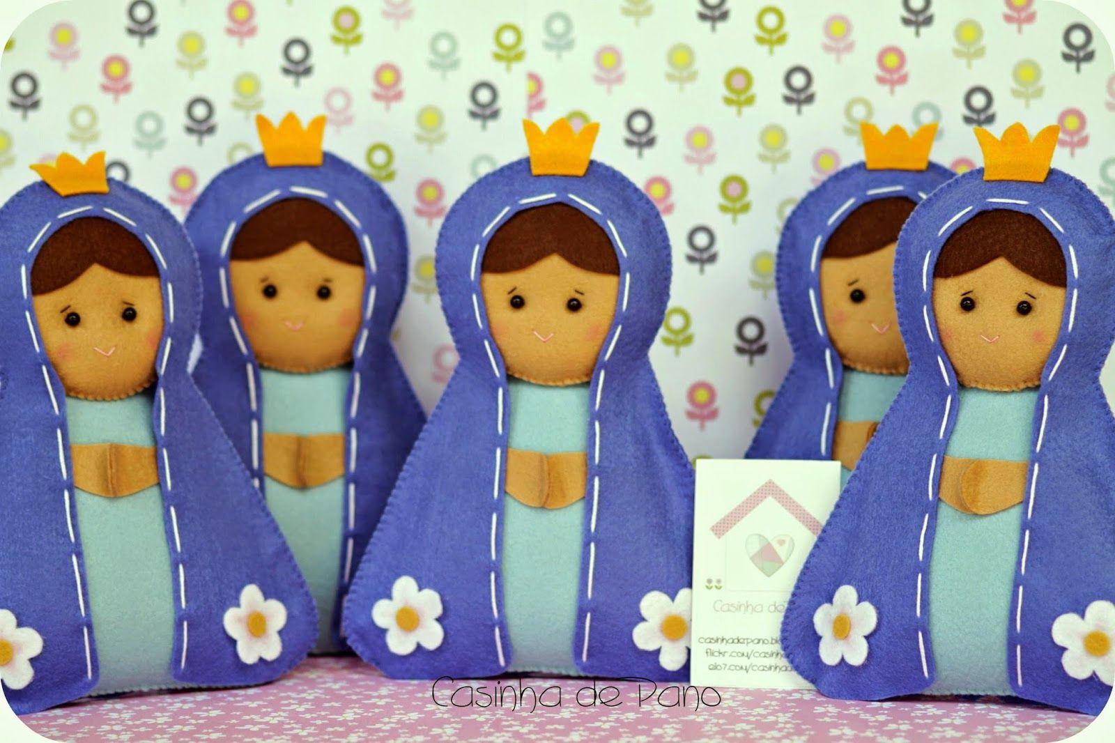 Casinha de Pano: Nossa Senhora para enfeite de mesa.