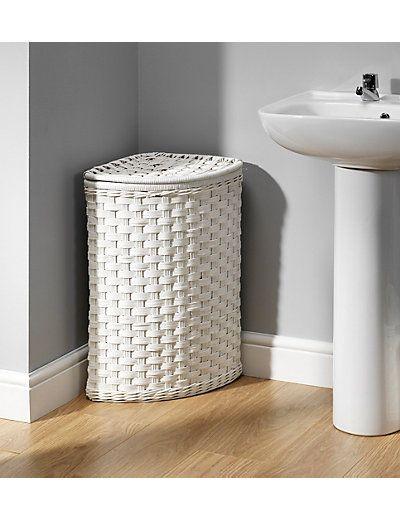 White Rattan Corner Laundry Bin M S Enfeites Para Banheiro