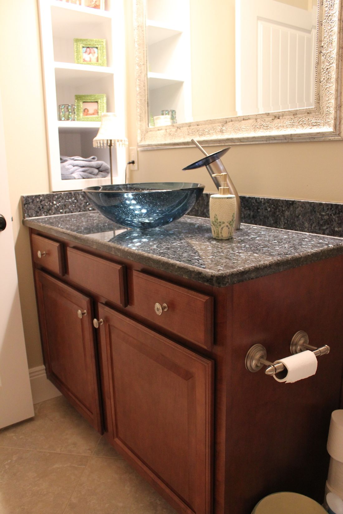 Wellborn Cabinetry Vanity, Solera Glass Sink Bowl And Matching Custom Faucet