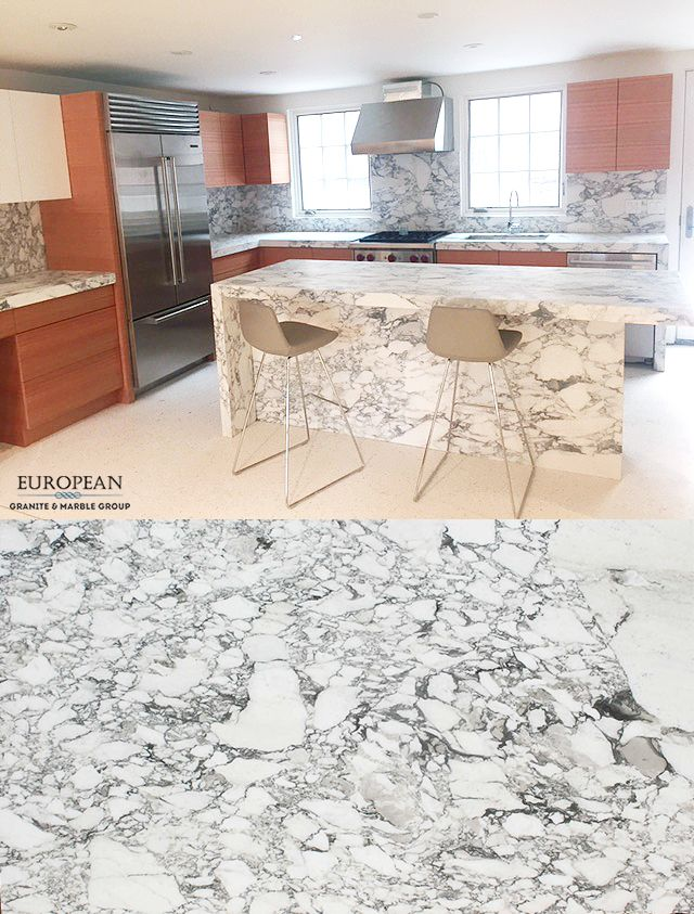 This kitchen design features a fantastic kitchen island, backsplash ...