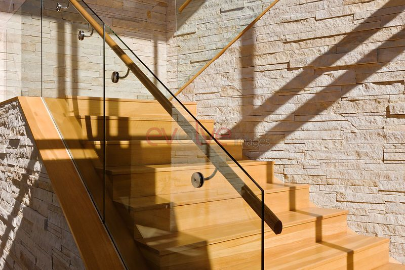 glass stair rail system with wood handrail from ...