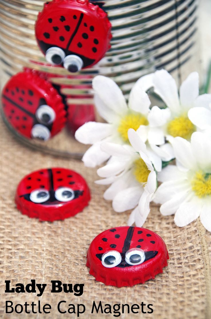 need an easy upcycled craft idea make bottle cap magnet lady bugs