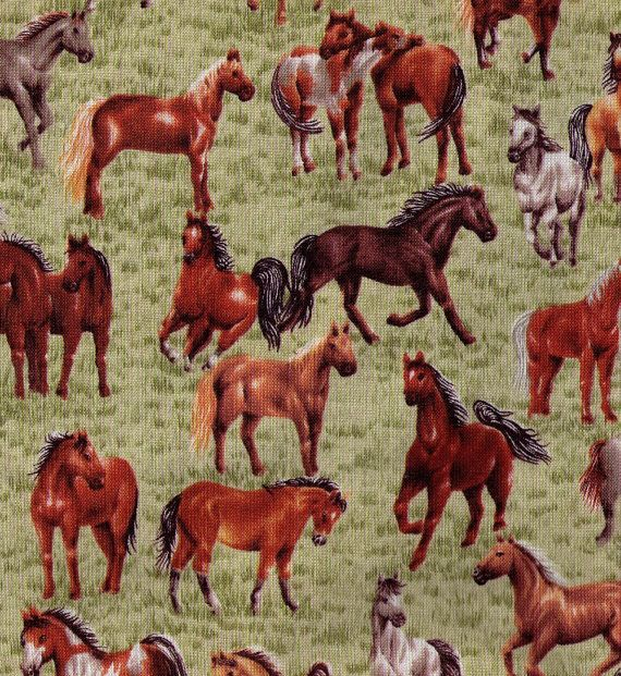Way Out West Robert Kaufman Horse Print Cotton Fabric By The