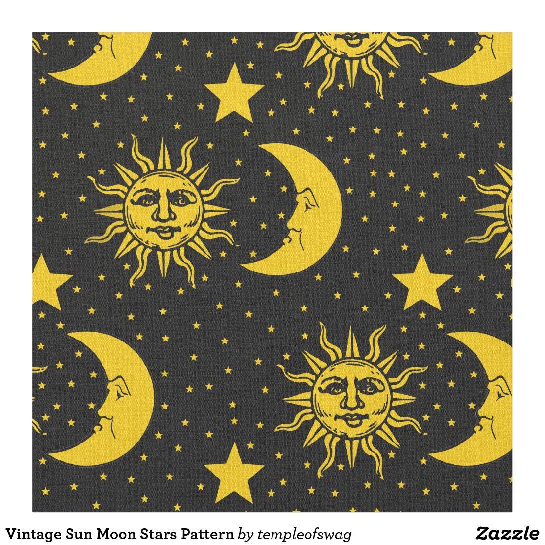 Vintage Sun Moon Stars Pattern Fabric