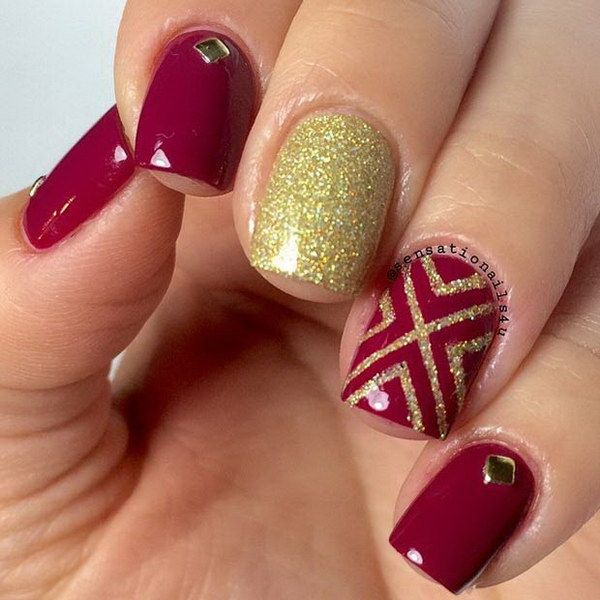 Dark Red Nails with a Pop of Gold Glitter. - 70+ Stunning Glitter Nail Designs Dark Red Nails, Red Nails And