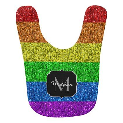 LGBT flag vibrant sparkles Monogram Bib - glitter glamour brilliance sparkle design idea diy elegant