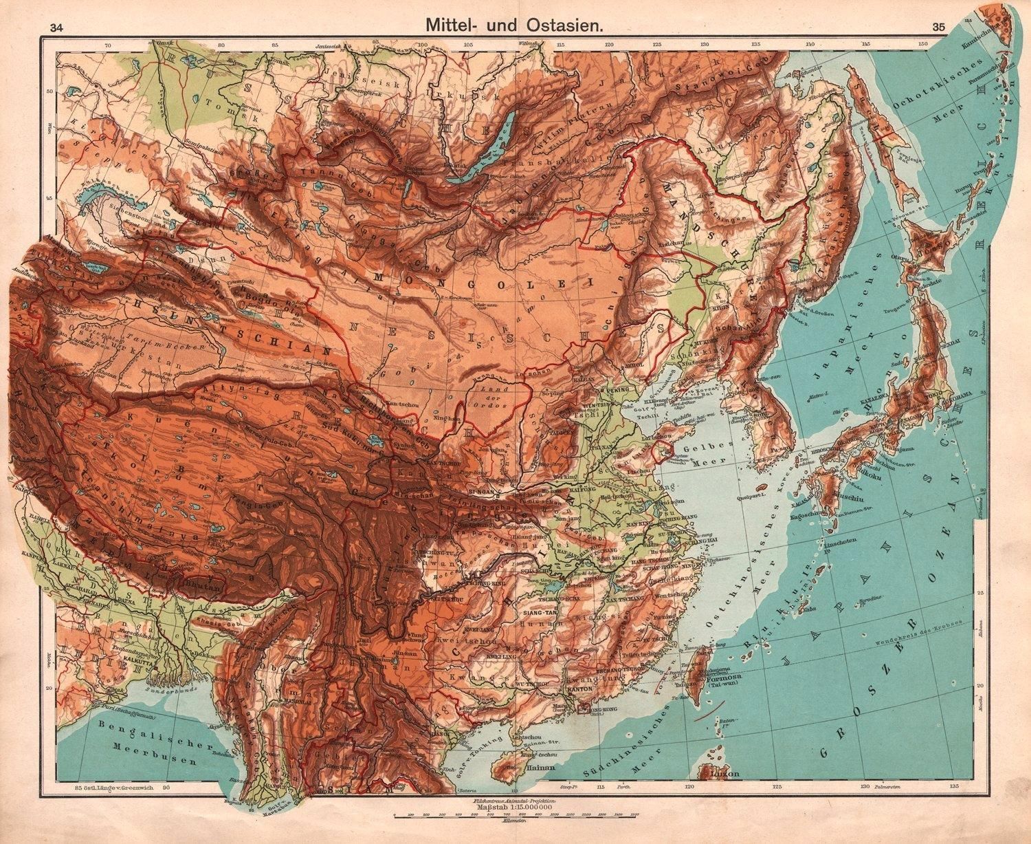 Central And East Asia 1911 Mapmania Asia Map Map Asia
