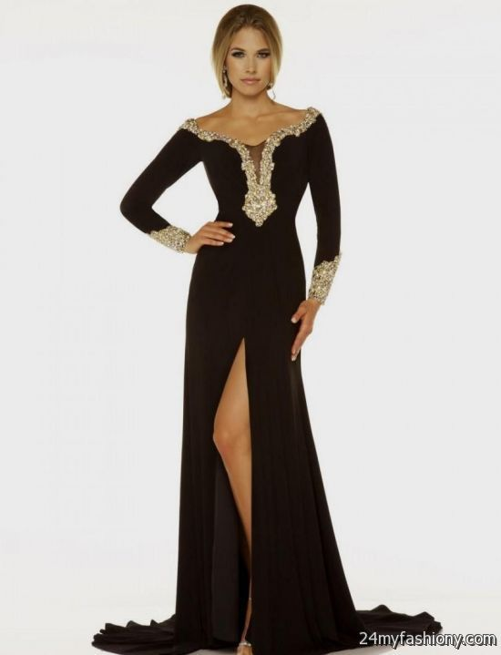 You can share these black and gold prom dresses with sleeves on ...