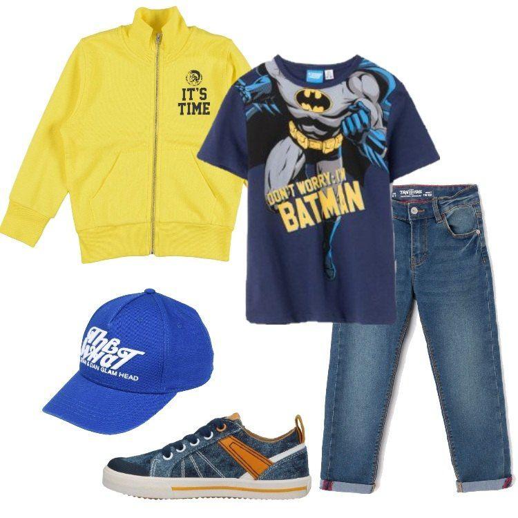 Series de tiempo mar Mediterráneo Aislar  Un outfit perfetto per un pomeriggio ai giardinetti: jeans regular fit,  t-shirt blu con stampa di Batman, felpa… | Vestiti da bambini, Outfit,  Abbigliamento bambini